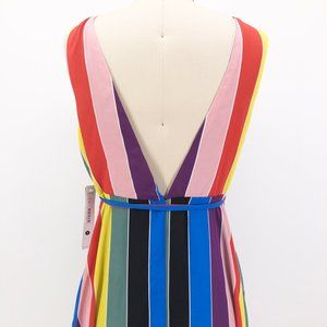 Aqua Dresses - AQUA Luxe Dress Rainbow Stripe Maxi Wrap Gown